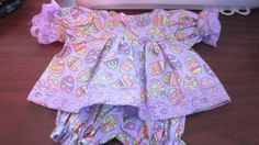 """Lavender Easter Print Dress/Bloomers fits 16-18""""Cabbage Patch/Berenguer Babies #KindredHeartsDesigns"""