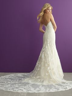 The highlight of this strapless lace gown is an incredible train // Allure Romance 2954