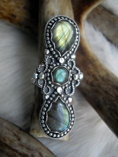 labradorite statement ring in sterling silver by inthegate2009, $199.00