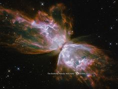 Gas released by a dying star races across space at more than 600,000 miles an hour, forming the delicate shape of a celestial butterfly. This nebula is also known as NGC 6302 or the Bug Nebula.