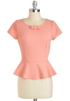 Grapefruit Mimosa Top - Mid-length, Coral, Solid, Work, Peplum, Short Sleeves, Bows, Exposed zipper, Vintage Inspired, 40s, Pastel