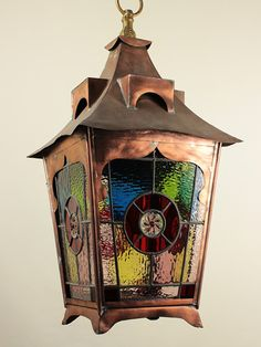 Victorian Copper and Stained Glass Lantern