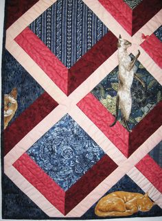 close up, Attic Windows with cats quilt by Wendy Mathson