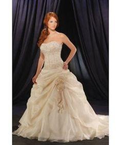Senza spalline ricamare abiti da sposa colorati a pieghe avorio