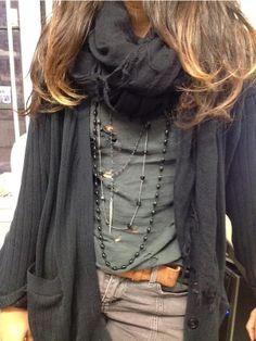 Black scarf, Grey tee, olive corduroy pants and Chan Luu layering necklaces! #artoflayering Shop here http://www.chanluu.com/