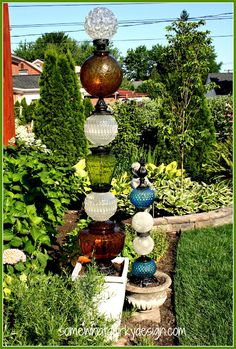Cool glass towers made out of vintage lamp bases!