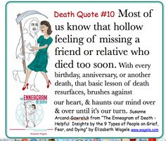 "Death Quote #10 from ""The Enneagram of Death"" by Elizabeth Wagele"