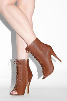 831b8937e507 Uptown State Of Mind - Cognac lace up open toe booties cognac