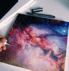 Space Galaxy Painting the Milky Way. Kunstjournal Inspiration, Art Journal Inspiration, Art Inspo, Watercolor Projects, Watercolor Art, Watercolor Galaxy, Galaxy Art, Galaxy Space, Food Galaxy