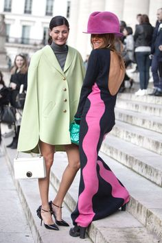 Street Style Paris Fashion Week - Street Style Photos from PFW - Elle   I love pink .. why do i love that hat?? wowow