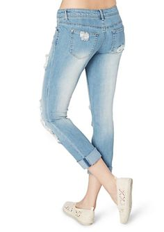 image of Destroyed Crochet Accent Cropped Jean