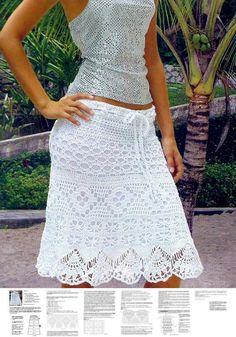 Knee length crochet skirt PATTERN instructions for sizes S, M, L, XL, XXL