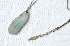 Sea Green Agate Pendant Necklace £10.00