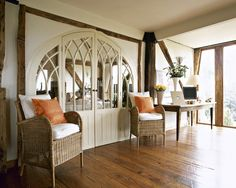 White Country Living Room - Living Room Design Ideas - Lonny. I love this entryway for in between kitchen and spare room