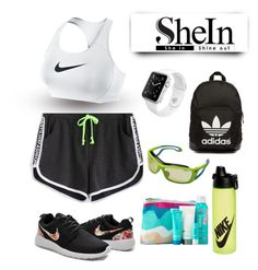 """""""Shein black shorts #2"""" by sangarest ❤ liked on Polyvore featuring WithChic, NIKE, Apple, COOLA Suncare, adidas Originals and Julbo"""