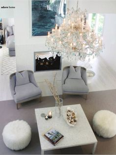 chandelier and marble table