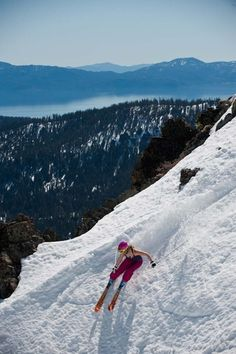 Spring skiing at Squaw Valley with Lake Tahoe in the background