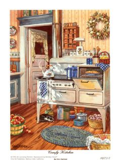 Vintage kitchen illustration artworks 48 New ideas Kitchen Art, Country Kitchen, Vintage Kitchen, Vintage Stove, Kitchen Canvas, Antique Stove, Chef Kitchen, Kitchen Prints, Country Farmhouse