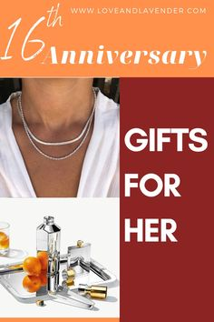 Here at Love & Lavender, we wholeheartedly ascribe to the view that every year of marriage deserves to be honored. Modern gifts for the 16th anniversary include silver holloware/silver plate, the gemstones golden topaz or peridot, and statice flowers. Heer is a list of 16th Anniversary Gifts for Her #anniversary #anniversarygifts #gifts #giftsforher