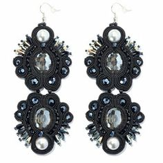"""RUSH 4.5"""" Crystal, Glass & Simulated Pearl Double Drop Earrings"""