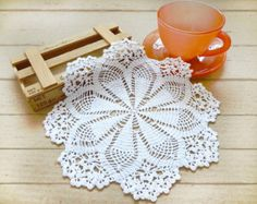 Items similar to Crochet Doily White Rectangular Crocheted Doily  Lace Crocheted Doilies Crochet Placemat on Etsy