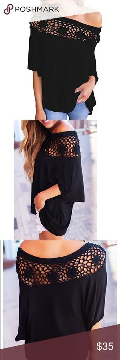 women off shoulder half sleeve crochet blouse Beautiful women off shoulder crochet blouse material polyester and cotton Tops Blouses