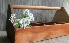 Vintage Large Wooden Tool Caddy Rustic by WeeLambieVintage on Etsy, $48.00