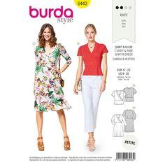 Burda Burda Style Pattern Misses' Jersey Dresses sewing pattern Burda Sewing Patterns, Clothing Patterns, Dress Patterns, Wrap Front Dress, Bobe, Fashion Catalogue, Top Pattern, Pattern Fashion, Knit Dress