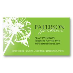 Gardening Business Cards featuring a white flower silhouette / dandelion silhouette on green background // custom business cards ideas // green business cards // floral business cards // customize it at http://www.zazzle.com/gardening_business_card-240274698384056377?rf=238395237176455059