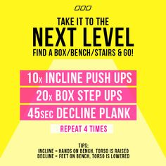 Get MOVING. Get ANYWHERE!!! This routine is perfect to pair in between stair sprint intervals for a total body workout!