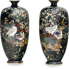 A pair of small cloisonné enamel vases Meiji period (late 19th century)Fosterginger.Pinterest.ComMore Pins Like This One At FOSTERGINGER @ PINTEREST No Pin Limitsでこのようなピンがいっぱいになるピンの限界