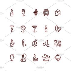 Wine and sommelier icons by Microvector on @creativemarket