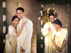 Kerala kasavu sari. White kanchipuram silk sari. Malayalee bride. Malayalee groom. Kerala wedding. South Indian bride.