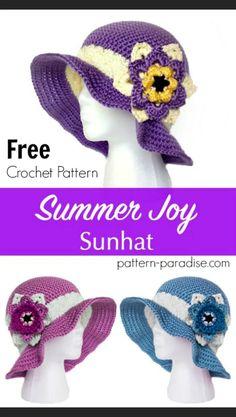 Intermediate (leave off flower for easy) -- FREE Crochet Pattern - Holiday Joy becomes Summer Joy! Crochet Adult Hat, Crochet Summer Hats, Crochet Beanie, Free Crochet, Crocheted Hats, Knit Hats, Crochet Baby, Sombrero A Crochet, Knitting Patterns