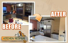 Our Kitchen Respray System is of highest quality. The paint that we use is much more durable and wear-resistant than the standard products offered on the market. Moreover, our kitchen respray system is environmentally friendly and following to the latest technologies.