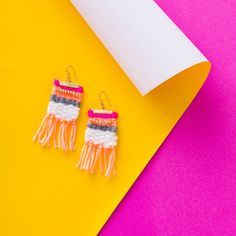 After you make a necklace with the Brit + Co Weave a Necklace DIY Kit, available exclusively at Target, create a matching set of woven earrings, too. http://go.brit.co/2qUb6sH