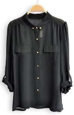 Black Single Breasted Pockets Chiffon Shirt