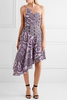 Topshop Unique - Cleary One-shoulder Broderie Anglaise Cotton Midi Dress - Lilac - UK10