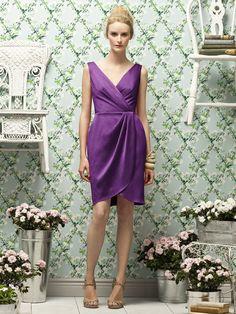 Zipper-Back Purple V-neck Ruched-Ruffles Column-Sheath Natural Satin Sleeveless Short-length Bridesmaid Dress