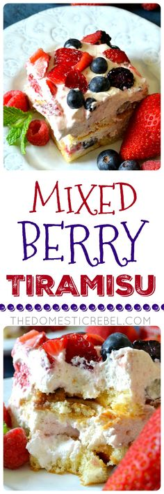 This MIXED BERRY TIRAMISU is a fun spin on a traditional Italian dessert! Layers of fluffy Twinkie snack cakes topped with raspberry liqueur and a fluffy cream cheese/raspberry whipped cream mixture with four kinds of fresh berries. So perfect for spring and summertime, it's an easy no-bake dessert! ~ The Domestic Rebel