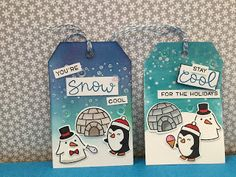 Carla's scrappy tales - Lawn Fawn Snow Cool stamp set. Christmas tags / birthday tags with distress ink backgrounds