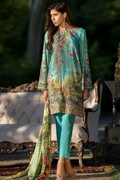 Turquoise printed suit