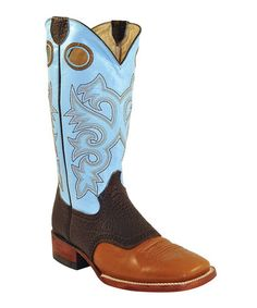 Look at this #zulilyfind! Brown & Light Blue Cutout Leather Cowboy Boot - Women by Ferrini #zulilyfinds $91