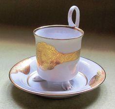 Pirkenhammer Mokka Tasse; Gold Weiß in Antiquitäten & Kunst, Porzellan & Keramik, Porzellan | eBay