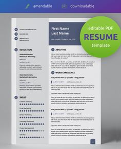 Get this professional, editable PDF resume template! Modern slate blue, light grey and white pre-designed resume. Easy to use & edit! Resume Pdf, Modern Resume Template, Creative Resume Templates, Cv Template, Cv Words, Resume Words, Cv Design, Resume Design, Resume Layout