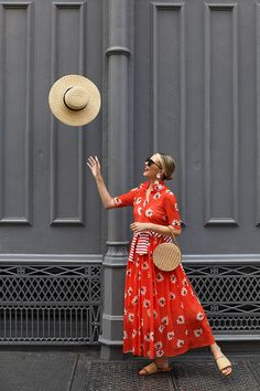 A Red Floral Dress by Ganni on Atlantic-Pacific