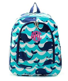 Personalized Splash Whale Padded Backpack - Navy