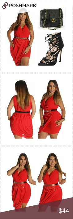 Fire Red Elegant Belted Dress  A touch of Elegance, Simplicity and Class!!! V neck,  Ruche with removable belted Dress.....A classy piece of attire to any wardrobe. 98? spandex 2% polyester. Available 1x, 2x, 3x Dresses