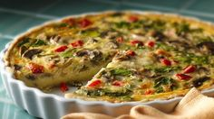 Bisquick® Gluten Free mix crust topped with spinach and mushroom mixture for a tasty breakfast – perfect if you love French cuisine.
