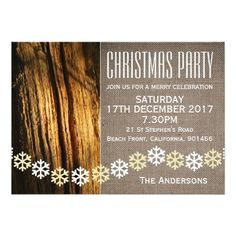 Rustic Snowflakes Christmas Party Invitation